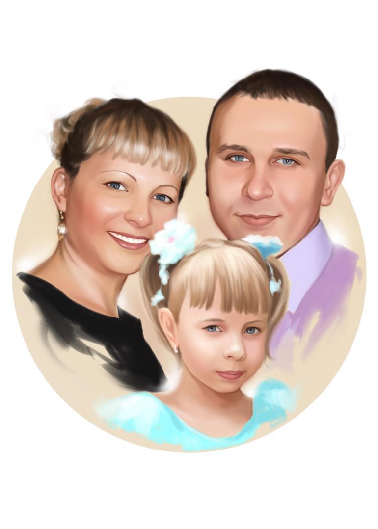 Семейный портрет по фото на холсте в Магнитогорске — правильный подарок!